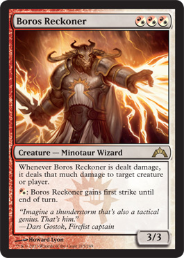 Boros Reckoner has a spot in the minotaur hall of fame for being the only playable minotaur in modern Magic.