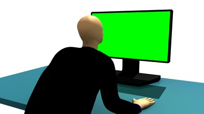 stock-footage-computer-animation-representing-a-d-man-sitting-in-front-of-a-green-desktop