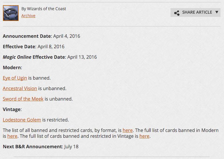 Banlist update
