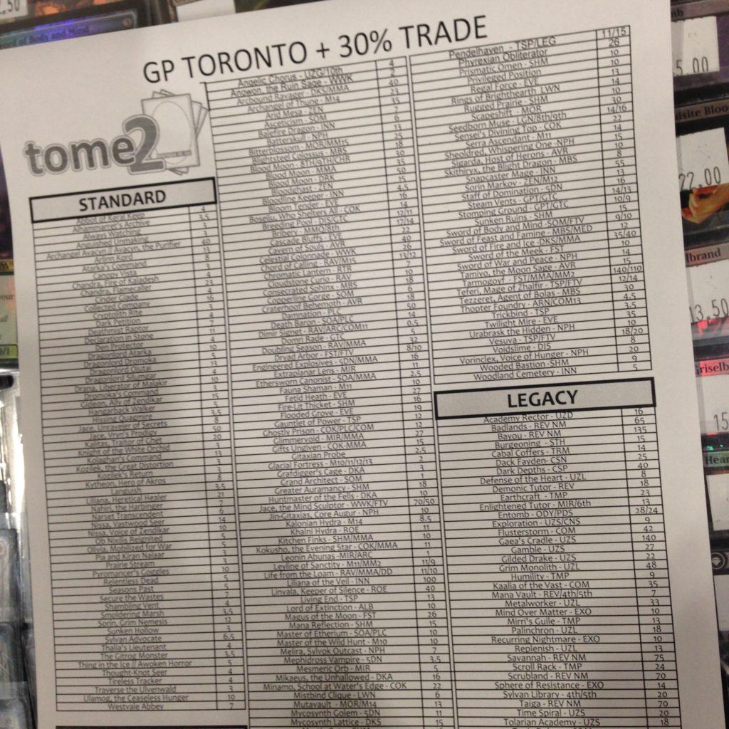 Tome2 Buy List