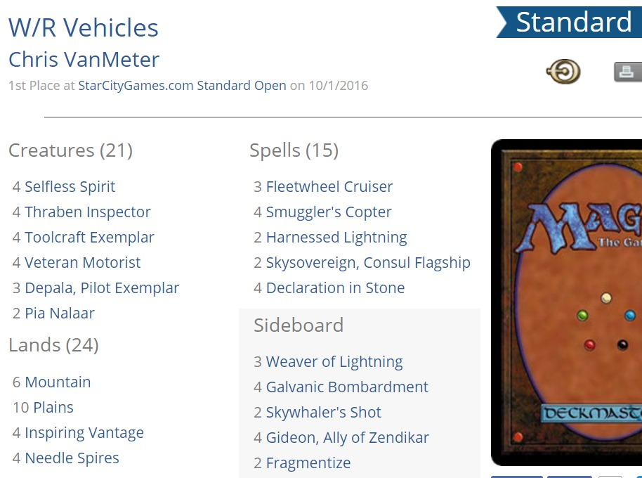 Chris VanMeter's winning deck from SCG Open Indy.